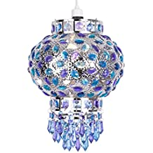 MiniSun - Preciosa y exótica pantalla de lámpara de techo de estilo marroquí 'Ghadda' - en cromo con ornamentación azul y morada