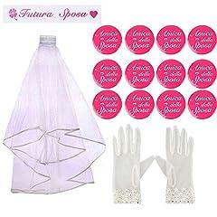 Idea Regalo - Kit 15pz Bride to be Velo Sposa+12 Spille Amica della Sposa Fascia Futura Sposa Italiano+Guanti Gadget Addio al Nubilato