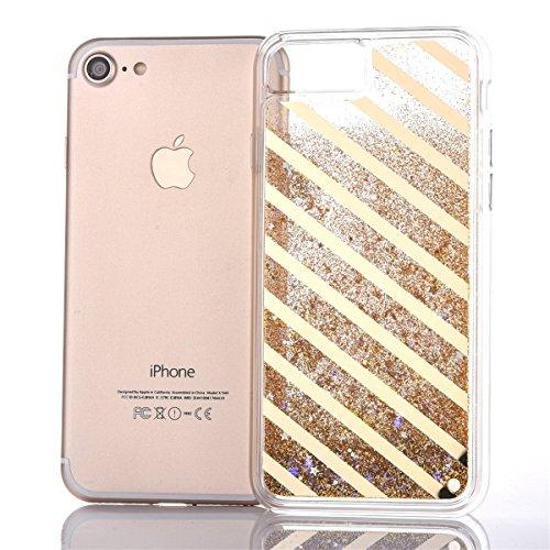 Voguecase® für Apple iPhone 7 4.7 Hülle, Flüssig Fließende Sparkly Bling Glitzer Treibsand Quicksand (Harte Rückseite) Hybrid Hülle Schutzhülle Case Cover (Plating Treibsand/Gitter/Gold) + Gratis Univ Plating Treibsand/Slash/Gold