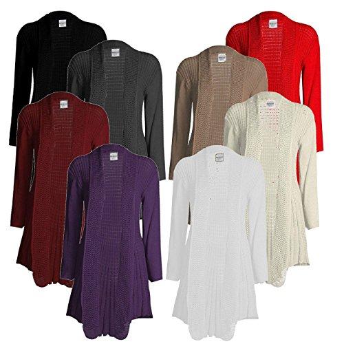 Top Fashion da donna taglie forti Maniche Lunghe Plain uncinetto a maglia cascata Cardigan Pullover taglia 36–50 Carbone