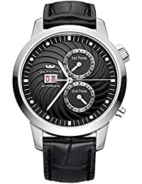 Glycine Airman Seven Automatic Triple Time Zone Stainless Steel Mens Strap Watch 3919.19 LBK9