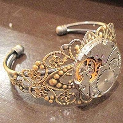 bracelet steampunk bronze manchette mécanisme montre engrenage dentelle laiton bronze estampe fleur horloge rouage vintage ancien rétro punk bijoux fantaisie original rock rockabilly mouvement