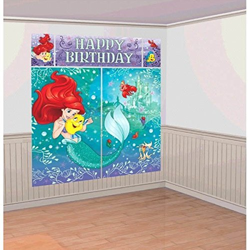 Disney Little Mermaid Princess Ariel Dream Big Kids Party Scene Setter Wall Decorations Kit - Kids Birthday and Party Supplies Decoration by The Little Mermaid (Ariel Little Mermaid Party)