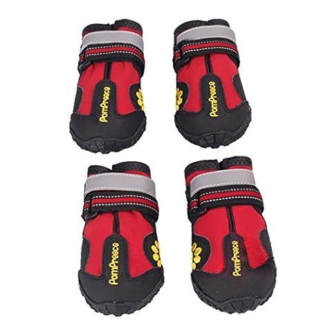 Ularma 4PCS Imperméable à l'eau Animal de compagnie Bottes pour Médium À Grande Chiens Labrador Husky Chaussures Rouge (taille 6)