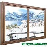 CCRETROILUMINADOS. Falsa Ventanas Cuadro Paisaje Nevado (100_x_80_cm, MADERA)