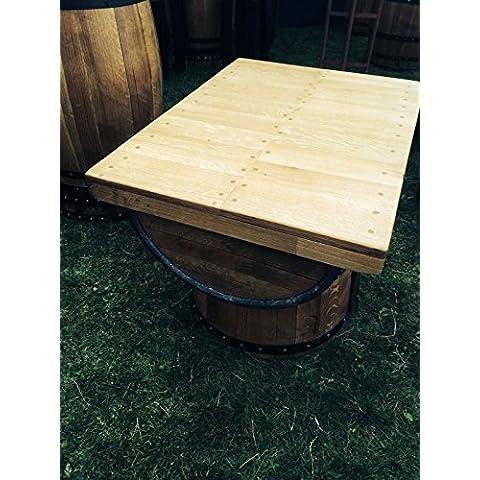 Alister riciclato, il Whiskey barrel-Tavolino da caffè in legno di quercia