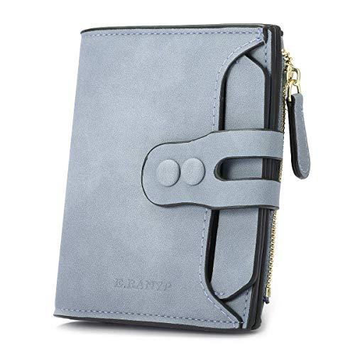 Portefeuille en Cuir PU pour Homme Femme, Compact Slim Design Porte Monnaie avec Fermeture Eclair