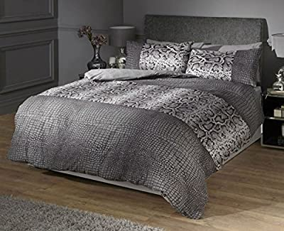 Kericho Animal Print Snake Skin Double Duvet Quilt Cover Bedding Set - Charcoal