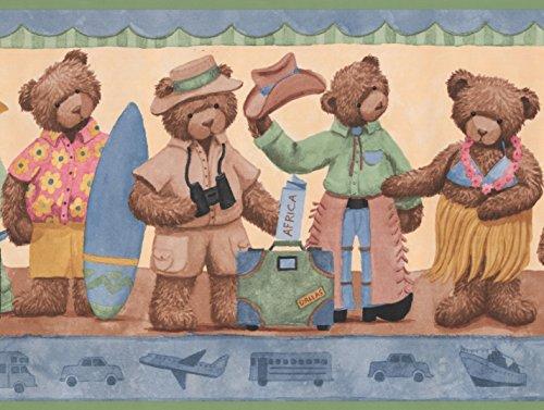 oll-Teddybären in Kostümen gelb Beige Tapete Grenze Retro-Design, 15' x 10