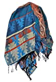 Poncho Umhang Cape Knitwear (Muster 2 Hellblau)