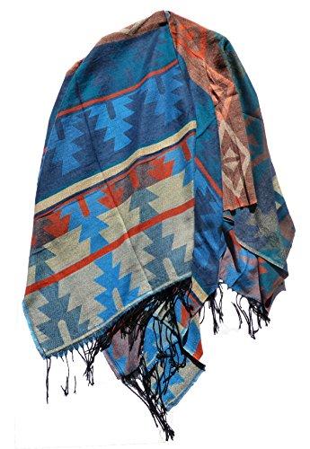 Poncho Umhang Cape Knitwear (Muster 2 Hellblau) Mexiko-jacke