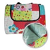 WOMETO XXL Picknickdecke Isoliert 150x200 cm Outdoordecke mit Tragegriff Wasserabweisend - Blumen im Retrostil pink