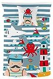 Rubio Hogar Juego Nórdico Marinero, Algodón, Azul, Individual, 220 x 150 x 3 cm, 2 Unidades