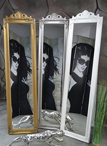 Livitat® Standspiegel Ankleidespiegel Holz 160 x 40 cm Garderobenspiegel Wandspiegel antik Weiß Rokoko barock (Weiß mit Krone)