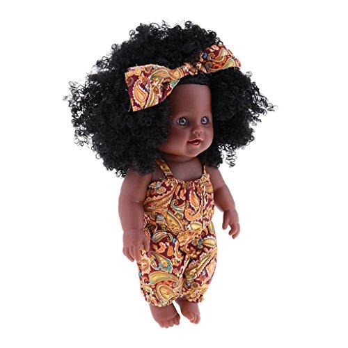 stische Babypuppe African American Baby Puppen mit lockiges Haar für Kinder Spielzeug - Gelbe Kleidung ()