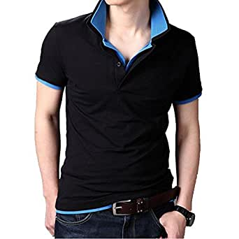 fanideaz Men's Cotton Double Collar Polo T-Shirt (Black, Small)