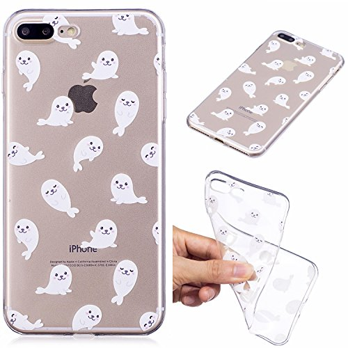 Custodia per iPhone 8 Plus 5.5,Silicone Cover per iPhone 7 Plus 5.5,Leeook Creativa Bello Carina Gatto Painted Design Ultra Sottile Morbida Transparent TPU Gel Cover Case Shock-Absorption Anti Scivo Bianca Leone Marino