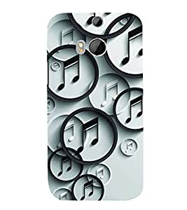 FUSON Vector Overlapping Music Note 3D Hard Polycarbonate Designer Back Case Cover for HTC One M8 :: HTC M8 :: HTC One M8 Eye :: HTC One M8 Dual Sim :: HTC One M8s