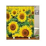 Bishilin Lustiger 3D Duschvorhang Antischimmel Sonnenblume Duschvorhang Wasserdichter 180x180