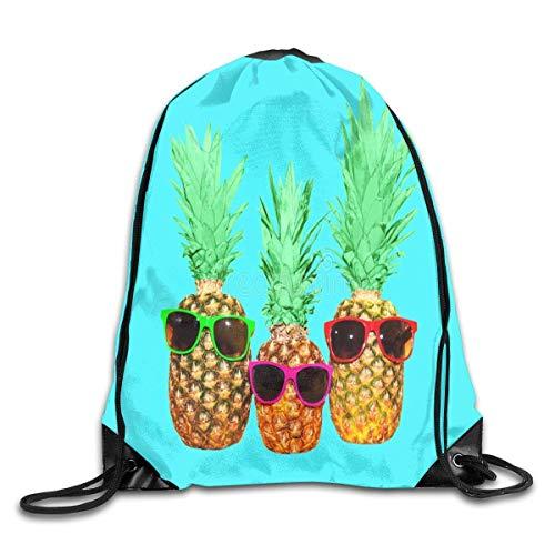 GONIESA Fashion Unisex Gym Bag Drawstring Backpack Gym Bag Travel Backpack Three Pineapple Sunglass Small Drawstring Backpacks Women Men Adults
