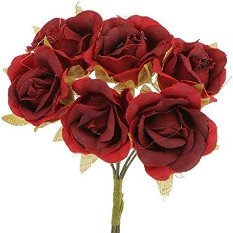 60x Artificial Rosa Per Bouquet Da Sposa Polso Fiore Corpetto Matrimonio Fai Da Te Decorazione Casa - Rosso, 10 centimetri