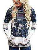 Tomwell Damen Weihnachten Hoodie Schnee Kapuzenpullover Weihnachten Langarm Kapuzenshirt Lässig Sweatshirt Pullover Bluse Marineblau DE 34