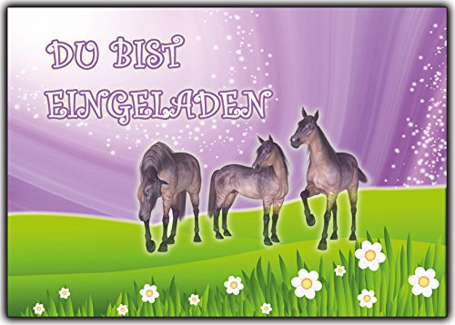 Einladungskarten Pferde zum Kindergeburtstag Geburtstag Kinder 12 Stück im günstigen Set für Mädchen Girls & Jungen Party-Einladung Pony Pferdefreunde Pferdegeburtstag (Kinder-geburtstag Personalisierte Einladungen)