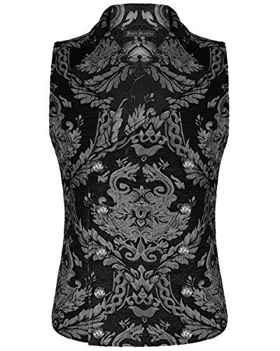 Devil Fashion Hombre Chaleco Negro Plata Damasco Gótico Steampunk ARISTÓCRATA - Negro, XXXX-Large