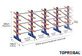 Kragarmregal KR6000 für extrem schwere Lasten, 1000kg/Arm, 6000kg/Ständer, Breite 9,1m, Höhe: 3m, Armtiefe 75cm, 5 Ebenen, doppelseitig, Langgutregal