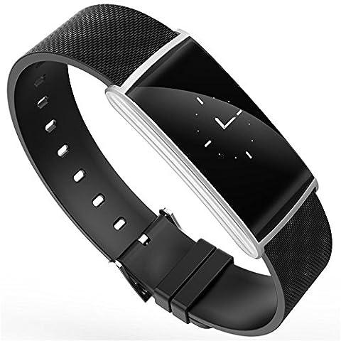 Joyeer Bracelet intelligent Pression artérielle Oxygène Mesure de la fatigue Contrôle du rythme cardiaque Podomètre du bracelet Permet de rappeler l'appel à distance Message Push Smartband pour Android IOS , silver