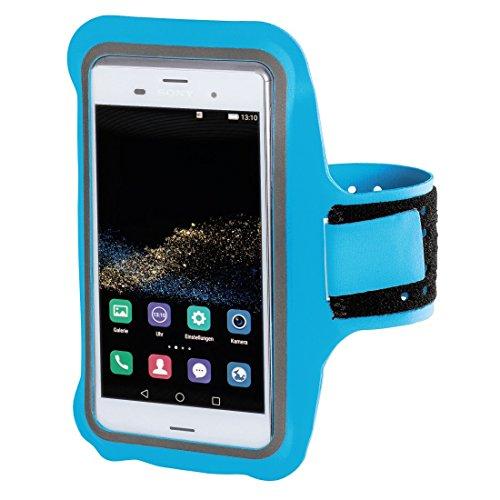 Hama Sportarmband für Smartphones (bis 7,5 x 0,7 x 13,8 cm, größenverstellbar, schweißresistent) hellblau