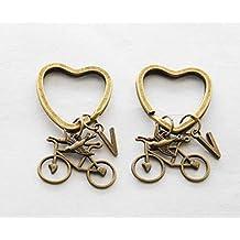 ciclista regali Bike Lover amicizia portachiavi portachiavi 2Best Friends bici ciclista portachiavi iniziale Keychain portachiavi Bike Lover Gift