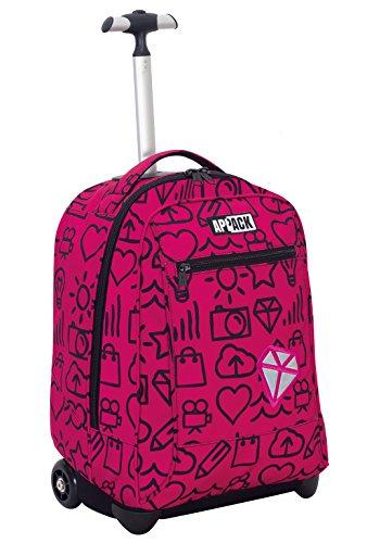 Big trolley appack , micro macro , rosa , 35 lt , 2in1 zaino  con spallacci a scomparsa , scuola & viaggio