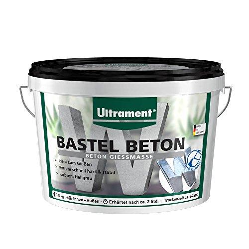 Ultrament Bastel Beton, Bastelbeton, Kreativbeton, Gießbeton , Beton Gießmasse, extrem schnell trocken, hellgrau, 3,5kg
