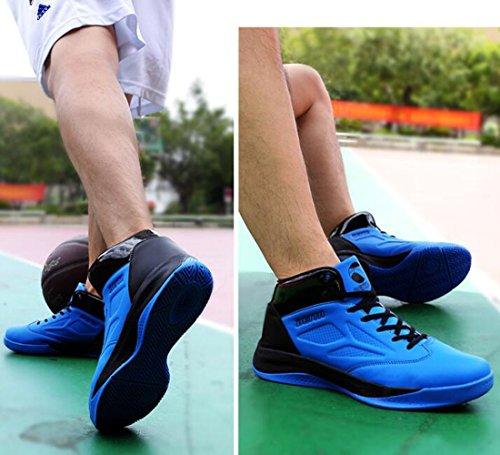 GESIMEI Respirant Basketball Chaussures Hommes confortable Haute-Top Baskets  (S'il vous plaît vérifier le tableau des tailles dans l'image principale) Bleu