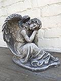 Steinfigur Figur Skulptur Garten Deko Grabfigur Engel frostfest 25 cm 6,4 kg