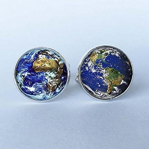 Herren Manschettenknöpfe Hohe Qualität Welt Erde Manschettenknöpfe Weltkarte Manschette Link Damen Silber Manschettenknöpfe