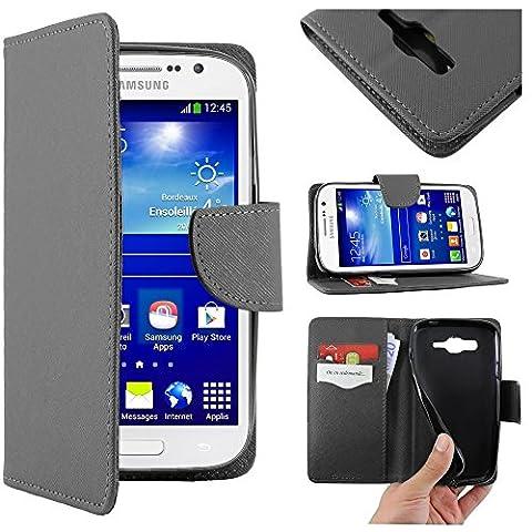ebestStar - pour Samsung Galaxy Grand Plus GT-i9060I, Grand Lite - Housse Coque Etui Portefeuille Support PU Cuir, Couleur Noir [Dimensions PRECISES de votre appareil : 143 x 77.1 x 9.6 mm, écran 5'']