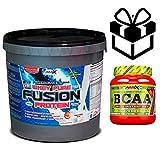 Amix Whey Pure Fusion 4 kg Frutas del Bosque + Bcaa 8:1:1 Zero + Mezclador