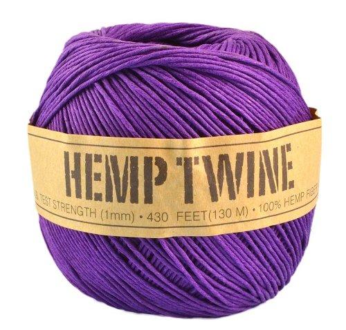 Purple Hemp Twine - 20 LB. Test - 1mm - 430 Feet - 100g - 100% Hemp Fibers by Hemp Twines - Fiber Test