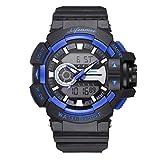 WMWMY Herren Sport Uhr Dual Display Analog Digital LED-Uhr Elektronischen Uhr Quarz 30 M Wasserdicht Militärischen Schwimmen Sehen, Blau