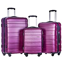 BTM Set of 3 Light Weight Hardshell 4 wheel Travel Trolley Suitcase Luggage Set