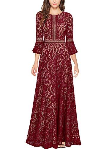 Miusol Robes de soirée Élégant Vintage Dentelle Floral Longue Femmes Vin Rouge Small