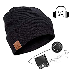 Bluetooth 5.0 Beanie Mütze Kopfhörer mit Lautsprecher, Geschenke Weihnachten Frauen Männer Musik Hut Strickmütze Headset Mikrofon Freisprechfunktion für Outdoor Sport