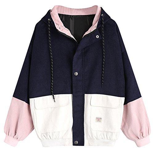Zaful giacca sportiva color block jackets giacca con cappuccio per donna 2019, m
