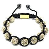 Shimla Crystal Bead Bracelet - Small Gold Plated White Cubic Zirconia Crystal Beads of 5.5-10.5cm