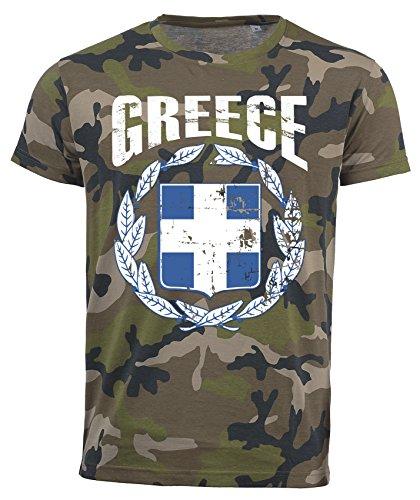 T-Shirt Griechenland Camouflage Army WM 2018 .- Vintage Destroy Wappen D01 (S)