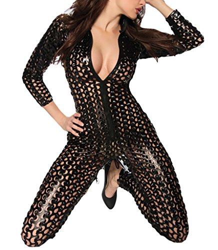 La Vogue Combinaison Slim Décolleté Femme Jumpsuit Soirée Club Wear Collant Noir