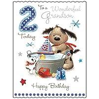 Extra Large Greeting Card (JJ9883) Grandson Birthday - Age 2 - Grandson Birthday - Fudge & Friends Range - Emboss, Foil and Flitter Finish