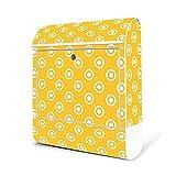 BANJADO Design Briefkasten weiß/38x47x13cm groß mit Zeitungsfach/Stahl pulverbeschichtet/Wandbriefkasten mit Motiv Punkte Weiss, Briefkasten:ohne Standfuß
